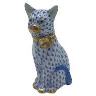 Vintage Herend Porcelain Sitting Cat with Gold Bow -- Blue Fishnet Model 15319 (no box) Purchased May 1992