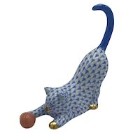 Vintage Herend Porcelain Cat with Ball -- Blue Fishnet Model 15309 (no box) Purchased November 1990
