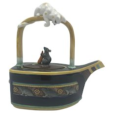 Vintage Minton Majolica Cat & Mouse Teapot (no box) from 1995