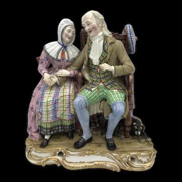 Antique English Porcelain Minton John Anderson My Jo Figural Group c. 1835-1840