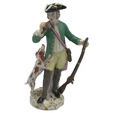 Meissen Figurine, Hunter with Dog and Rifle c. Late 19th to early 20th Century