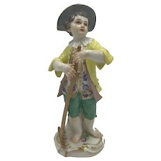 Meissen Figurine, Male Gardener with Rake c. Late 19th to early 20th Century