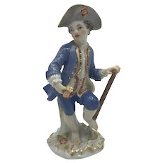 Meissen Figurine, Male Gardener with Spade c. Late 19th to early 20th Century