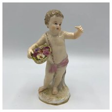 Meissen Figurine, Spring Putto c. Late 19th to early 20th Century