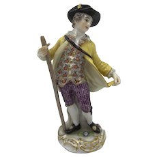 Meissen Figurine, Boy with staff or walking stick, c. Late 19th to early 20th Century