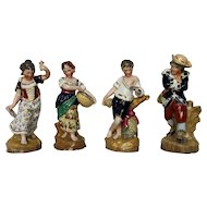 Antique English Porcelain James Dudson Four Seasons Figurine Set in Color c. 1840
