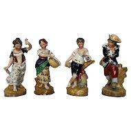 Antique English Porcelain James Dudson Four Seasons Figurine Set in Color c. 1840