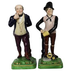 Antique English Porcelain James Dudson Figurines c. 1840 - Dickens' Mr. Pickwick and Sam Weller