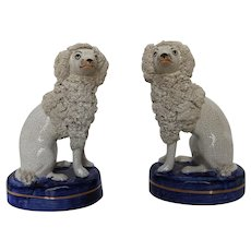 Early 20th Century English Porcelain Pair of Rockingham Poodles seated on Blue Base