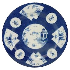 Bow English Porcelain Blue and White Plate with Reserves Decorated with Chinese Landscape c. 1760