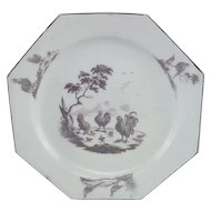 Bow English Porcelain Octagonal Plate, Very Rare Transfer-Printed in Purple c. 1758