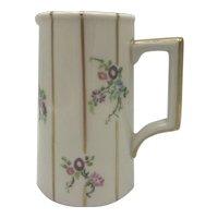 Antique American Porcelain Lenox Belleek Floral and Striped Milk Pitcher c. 1906