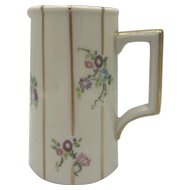 Antique American Porcelain Lenox Belleek Floral and Striped Milk Pitcher c. 1906