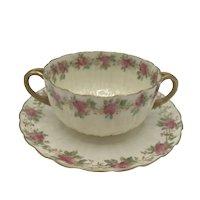 Antique American Porcelain Willets Belleek Bouillon Cup and Saucer c. 1885-1909