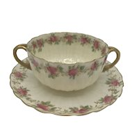 Antique American Porcelain Willets Belleek Bouillon Cup and Saucer c. 1885-1909
