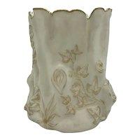 Antique American Porcelain Ott and Brewer Belleek Tree Shaped Vase c. 1883-1892