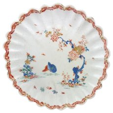 Bow Fluted Porcelain Plate with Kakiemon Style Decoration in the Two Quail Pattern c. 1755