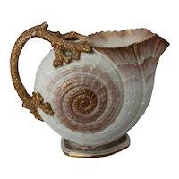 Antique American Porcelain Willets Belleek Shell Shaped Pitcher c. mid 1880's
