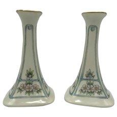 Antique Limoges Porcelain Candlesticks c. 1918
