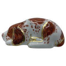 Royal Crown Derby Porcelain Paperweight Collectors Guild Puppy- dated 2000