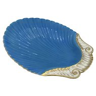 Antique English Porcelain Turquoise and Gilt Shell Shape Dish c. 1840 (possibly Minton)