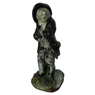 """Antique English Porcelain Staffordshire Figure of a Boy """"Chimney Sweep"""" c. Early 19th Century"""