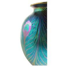 Tall Charles Lotton Studio Art Glass Vase Form - Blue Purple Peacock Feather