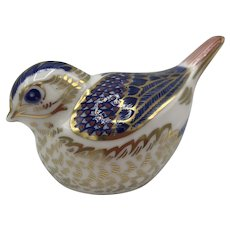 Vintage Royal Crown Derby Porcelain Goldcrest Bird Paperweight with box purchased 1991