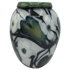 Large Charles Lotton Studio Art Glass Multi Flora Vase from 1998