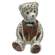 Royal Crown Derby Porcelain Teddy Bear with Blue Tie Paperweight with box dated 1998.