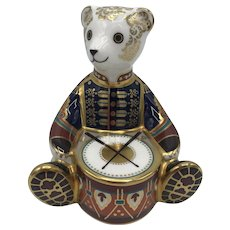 Royal Crown Derby Porcelain Govier's Drummer Bear Paperweight with box, certificate dated 1998.