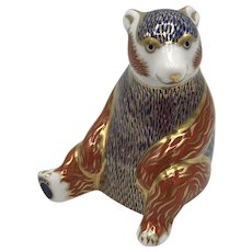 Royal Crown Derby Porcelain Honey Bear Paperweight with box dated 1993.