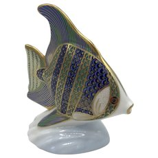 "Royal Crown Derby Porcelain Tropical Fish ""Angel Fish"" - WITH box dated 1990"