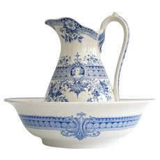 19th Century French country wash bowl and jug, blue and white water pitcher and bowl, U&C Sarreguemine Ironestone