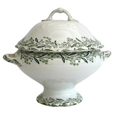 French ironstone lidded tureen with green transferware design - St Amand faience