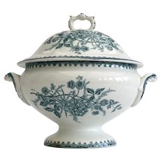 French ironstone lidded tureen, with blue teal transfer detail - St Amand