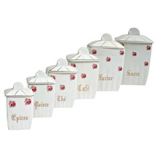 Set of six French ceramic kitchen storage canisters, St Amand