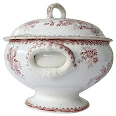 French lidded ironstone soup tureen with pink transferware botanic pattern - St Amand