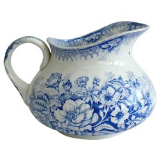 French Ironstone Pitcher / Jug, Royal Blue Flower Transferware By St Amand