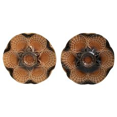 80's French set of six brown oyster plates - Sarreguemines