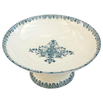 19 th Century French footed cake patisserie stand or plate - Salins