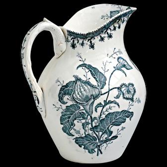 Large French ironstone transferware jug, ewer or pitcher, with dark blue botanic transfer design