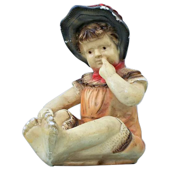 Large French plaster or chalkware figure of little girl