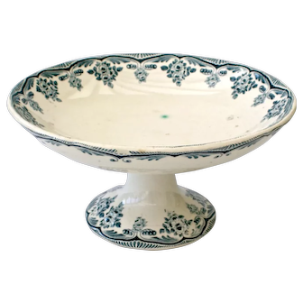 French 19 Century Ironstone Footed Cake Plate with Blue and white floral pattern