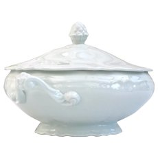 White vintage Limoges porcelain lidded tureen