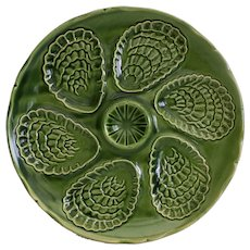 Six French vintage majolica oyster plates, seafood plates