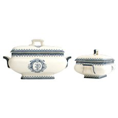 Pair of French Ironstone Lidded tureens: Monogrammed Blue and White Transferware