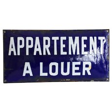 French 1930's Vintage Enamel Sign - Blue and White Industrial Sign