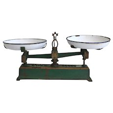 French Cast Iron and Enamel Force Balance Scales
