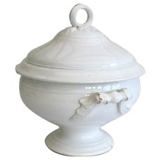 French White 19 Century Ironstone Tureen - Gien